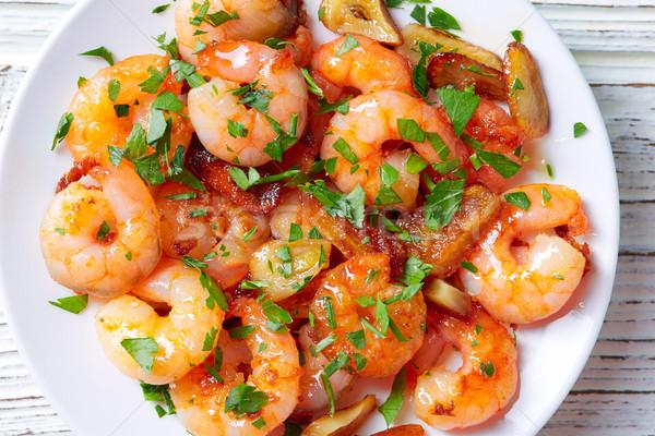 Ail crevettes tapas Espagne poissons fond Photo stock © lunamarina