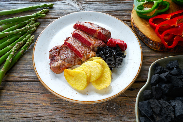 Grilled beef tenderloin with french fries Stock photo © lunamarina