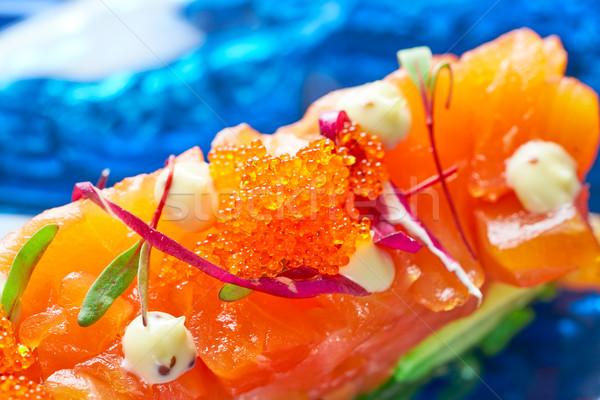 Salmon and avocado Tartare with soya Stock photo © lunamarina
