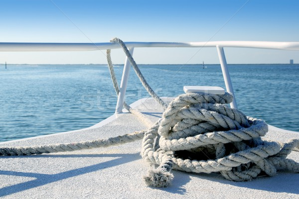 Stock photo: Boat white bow in tropical Caribbean sea