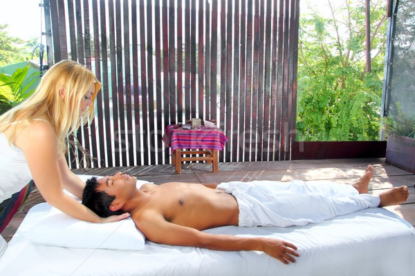 cranial sacral massage therapy in Jungle cabin Stock photo © lunamarina