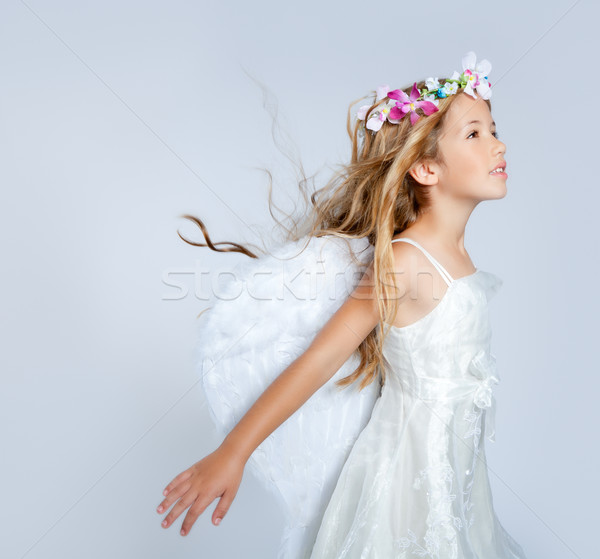 Angel children girl wind in hair fashion flowers crown Stock photo © lunamarina