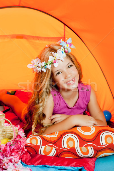 Children fashion little girl lying indoor of camping tent Stock photo © lunamarina
