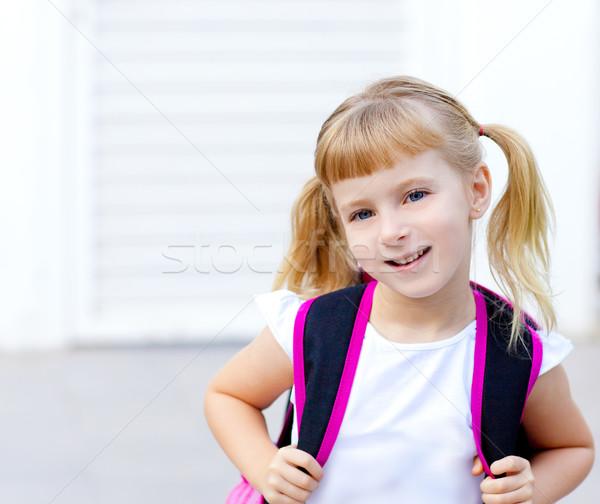 Photo stock: Enfants · petite · fille · école · sac · sac · à · dos · sourire