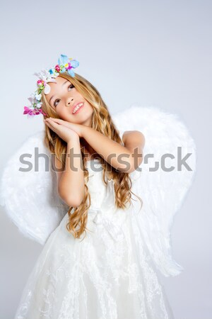 Stock fotó: Angyal · lány · arany · mező · toll · fehér