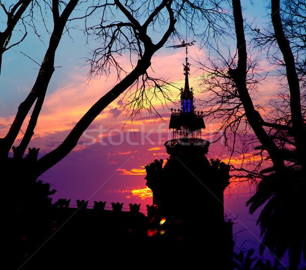 Barcelona três dragão castelo céu edifício Foto stock © lunamarina