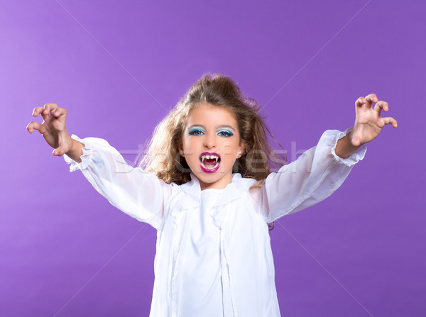 Enfants vampire maquillage Kid fille pourpre Photo stock © lunamarina