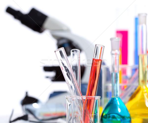 Químico científico laboratório test tube microscópio Foto stock © lunamarina