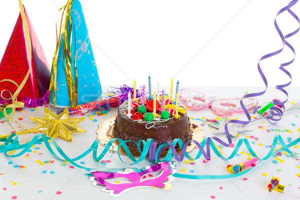 Children birthday party with chocolate cake Stock photo © lunamarina