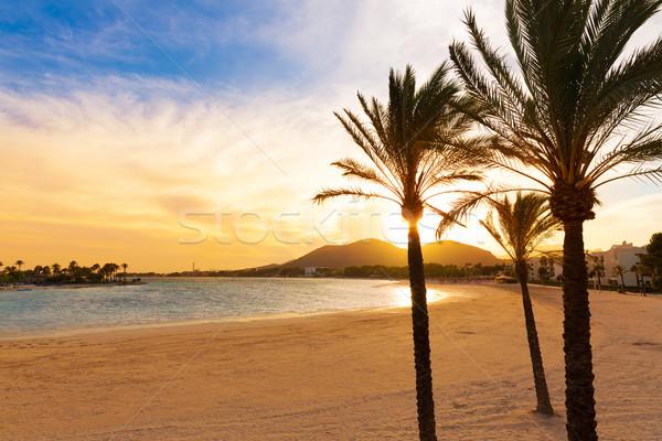 Alcudia Majorca at sunset on the beach Mallorca Stock photo © lunamarina