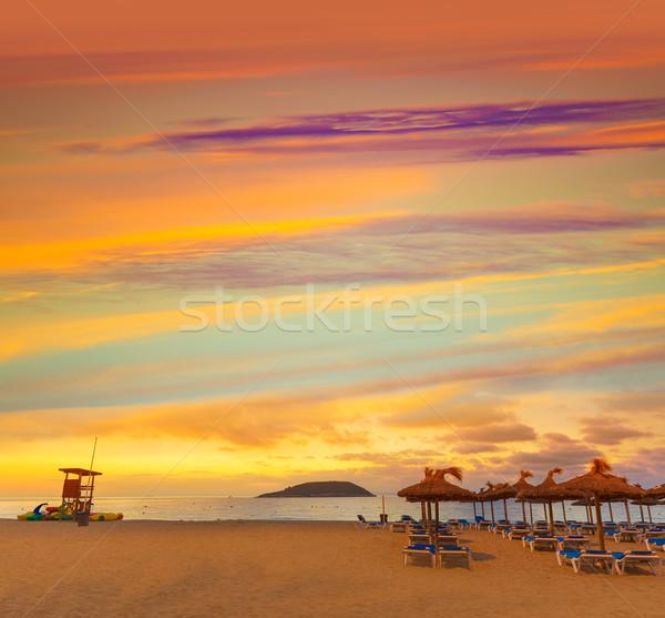 Gündoğumu plaj İspanya gökyüzü Stok fotoğraf © lunamarina