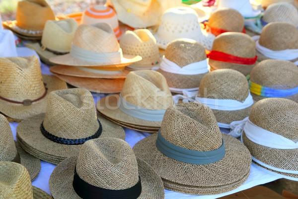 Hats arrangement on market hand craft shop Stock photo © lunamarina