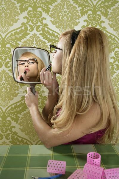 Retro mirror makeup woman lipstick vintage Stock photo © lunamarina