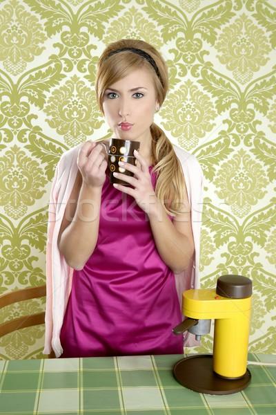 coffee retro woman vintage cup kitchen Stock photo © lunamarina