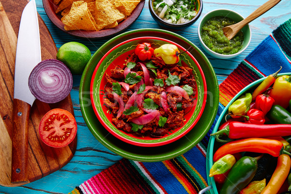 Cochinita Pibil Mexican food with red onion Stock photo © lunamarina