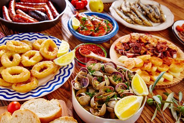 Tapas Spanyolország keverék népszerű mediterrán konyha kenyér Stock fotó © lunamarina