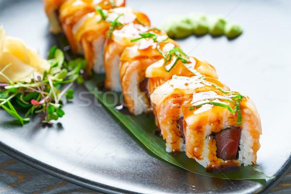 Rice Maki Sushi with nori foie and mango Stock photo © lunamarina
