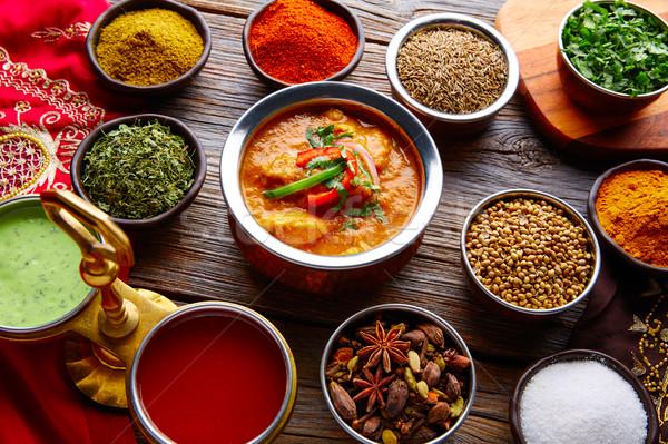Frango comida indiana receita temperos mesa de madeira textura Foto stock © lunamarina