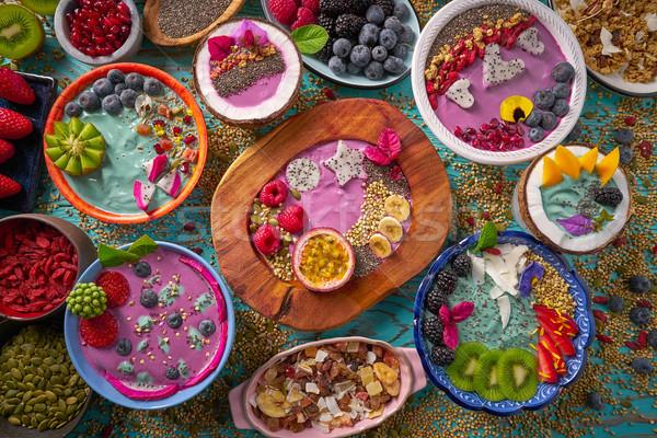 Acai bowl smoothie and Spirulina algae with berries Stock photo © lunamarina