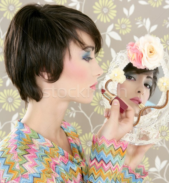 retro woman mirror lipstick makeup tacky Stock photo © lunamarina