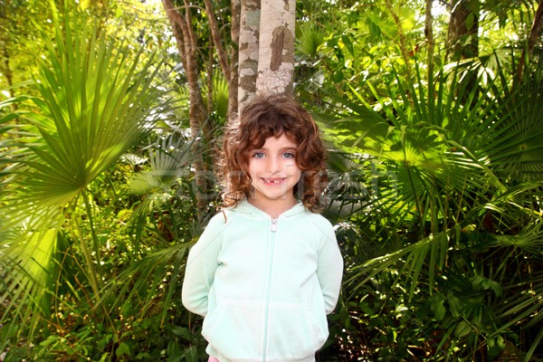 Little tourist girl posing in Mayan Riviera Jungle Stock photo © lunamarina