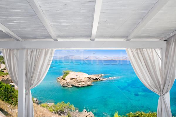 Gazebo white in Alcudia north Mallorca island Stock photo © lunamarina