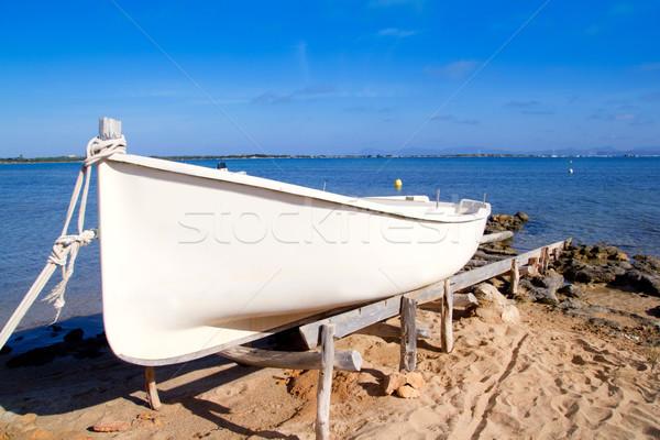 beached boat in Formentera Estany des Peix Stock photo © lunamarina