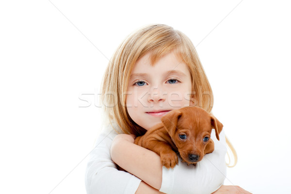 Blond children girl with dog puppy mini pinscher Stock photo © lunamarina