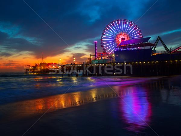 サンタクロース カリフォルニア 日没 桟橋 ホイール 反射 ストックフォト © lunamarina