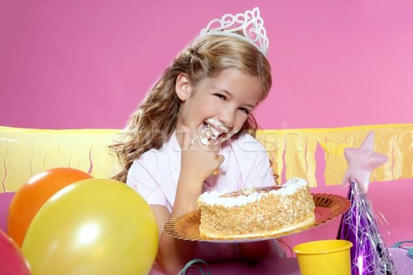 Stockfoto: Weinig · blond · meisje · verjaardagsfeest · haren · verjaardag