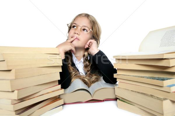 little thinking student blond braided girl glasses smiling Stock photo © lunamarina