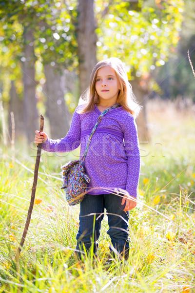 Hiking kid girl with walking stick in autum poplar forest Stock photo © lunamarina
