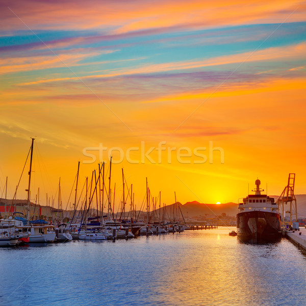 Cartagena Murcia port marina sunrise in Spain Stock photo © lunamarina