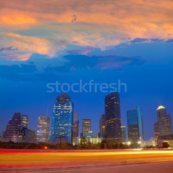 Houston downtown skyline at sunset dusk Texas Stock photo © lunamarina
