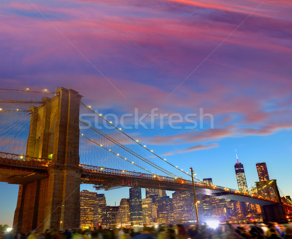 Brooklyn bridge and Manhattan skyline July 4th  Stock photo © lunamarina