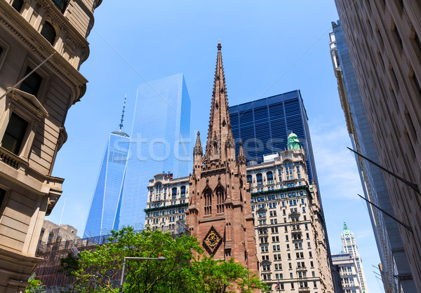 Trinity Church  Freedom Tower Manhattan NYC Stock photo © lunamarina