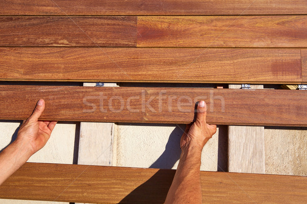 Pokład drewna instalacja ręce tekstury domu Zdjęcia stock © lunamarina
