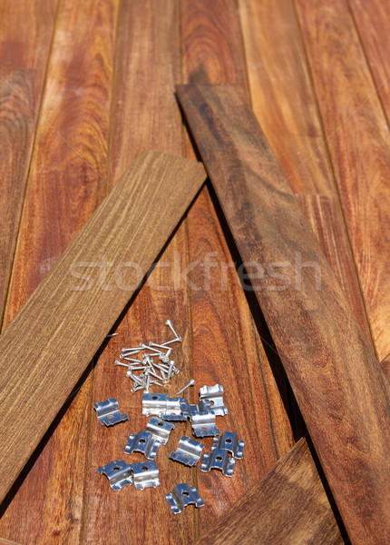 Ipe deck wood installation screws clips fasteners Stock photo © lunamarina
