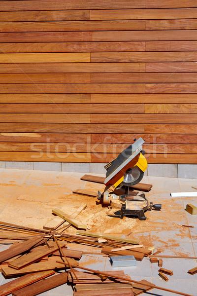 древесины забор установка плотник таблице увидела Сток-фото © lunamarina