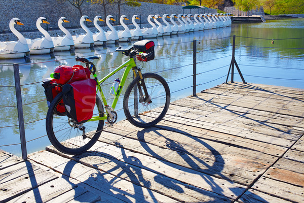 MTB Bicycle touring bike in a park with pannier Stock photo © lunamarina