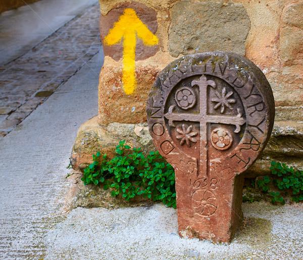 The way of Saint james yellow arrow sign Pamplona Stock photo © lunamarina
