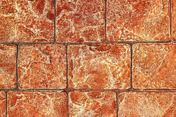 Afgedrukt beton cement trottoir textuur Rood Stockfoto © lunamarina