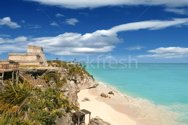 Tulum mayan ruins caribbean sea in Mexico Stock photo © lunamarina