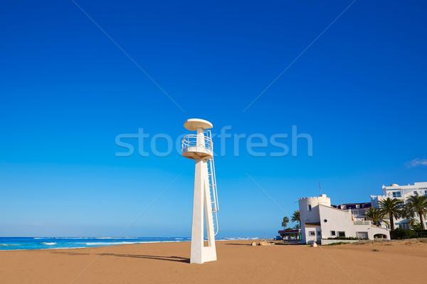Denia beach Las Marinas baywatch tower in El Moli Stock photo © lunamarina