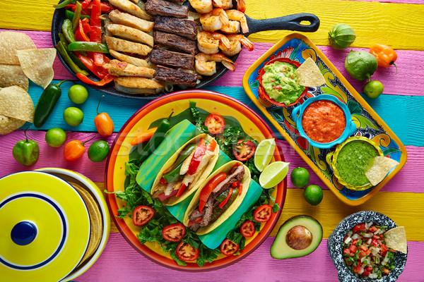 Foto stock: Mexicano · pollo · carne · de · vacuno · fajitas · tacos · colorido