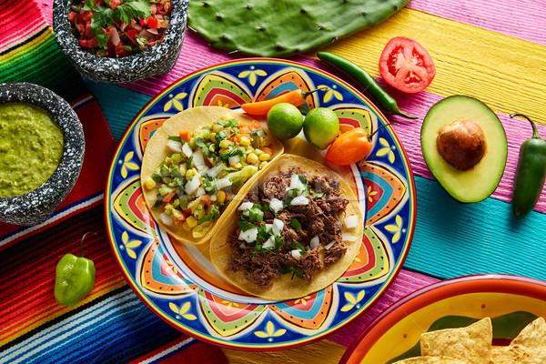 Mexican platillo tacos barbacoa and vegetarian Stock photo © lunamarina
