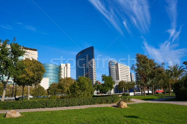 Valencia modern város sziluett park kilátás Stock fotó © lunamarina