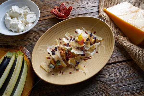 Patlıcan peynir İtalyan gıda ahşap masa ahşap Stok fotoğraf © lunamarina