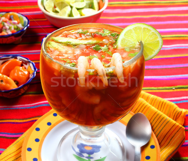Cocktail of shrimps seafood mexican style chili sauce Stock photo © lunamarina