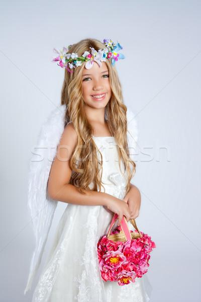 Stok fotoğraf: Melek · çocuklar · kız · çiçekler · çanta